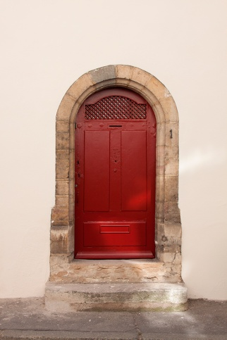 Middle age red door